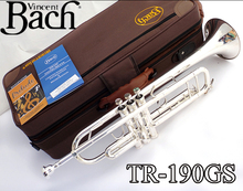 Professional TR-190GS Bach Trumpet Brass Small Trumpete Brass Instruments Cupronickel 7C Mouthpiece Gloves Musical Instrument
