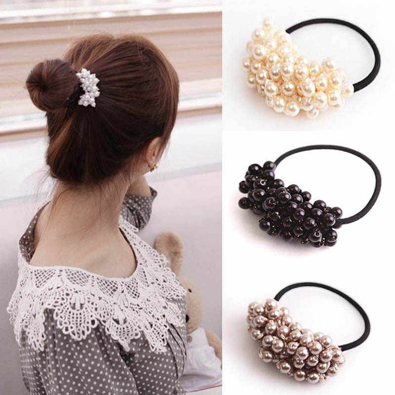 MISM Pearls Beads Hair Ties Elastic Hair Bands For women Hair Rope Scrunchies Ponytail Holders Rubber Hair Accessories