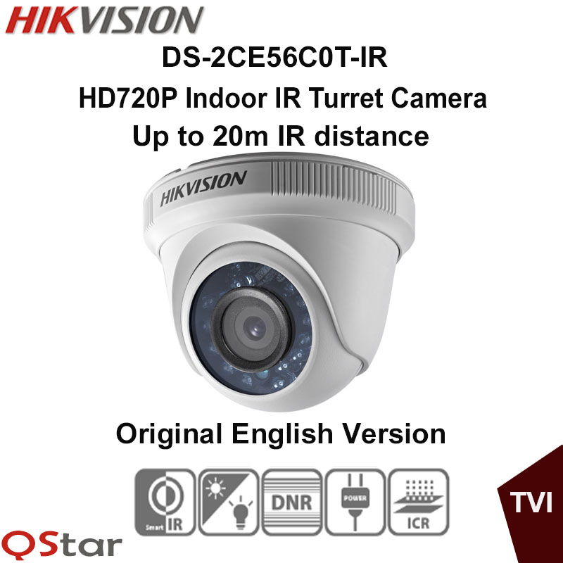 все цены на Hikvision Original English Version DS-2CE56C0T-IR HD720P Indoor IR Turret Camera IP66 weatherproof 20m IR CCTV Camera онлайн