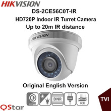 Hikvision Original English Version DS-2CE56C0T-IR HD720P Indoor IR Turret Camera IP66 weatherproof 20m IR CCTV Camera