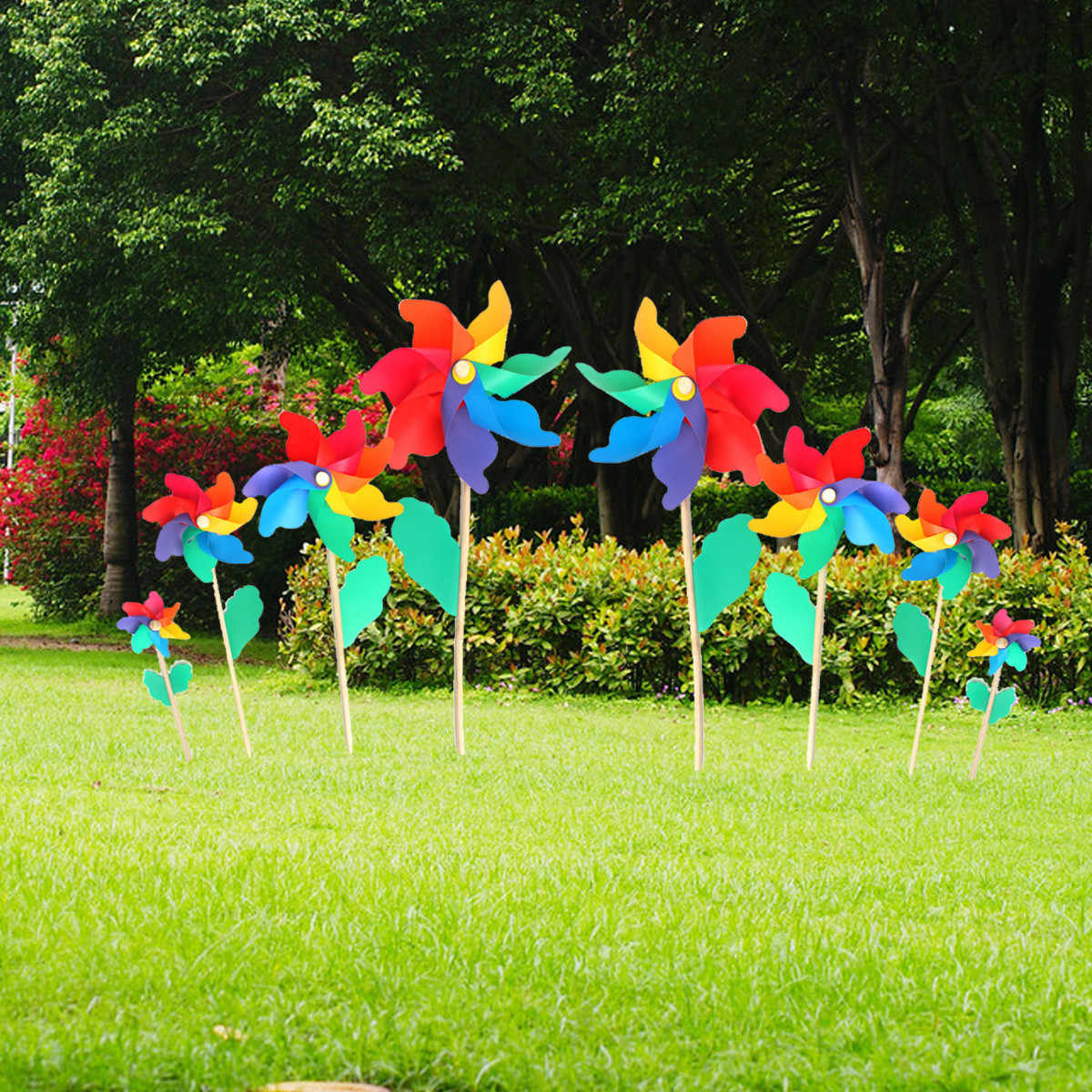 12CM Plastic Windmill Toy Colorful Windmill Children's toys Home Garden Yard Decor Outdoor Toy for Kids Pinwheel Kit