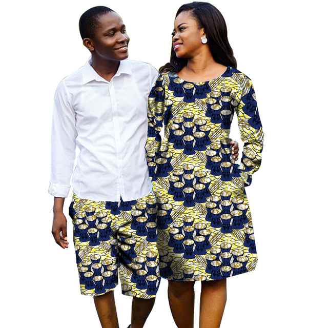 44c1183b0a6 African Couple Outfit Women Dresses+Men Short Pants Ankara Outfit for Couples  Fashion Couple s Prom Outfits Africa Clothing
