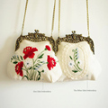 VINTAGE COTTON AND LINEN CLUTCH BAG w COPPER TONED FRAME + METALLIC HANDMADE EMBROIDERY DOUBLE-SIDED COTTON LACE HANDBAG