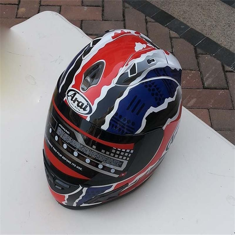 ФОТО blue and red special full face helmet motorcycle helmet for free shipping