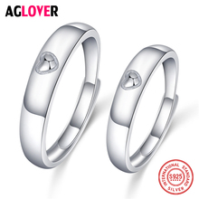 Two Pieces 925 Sterling Silver Couple Rings Heart For Women Men Wedding Engagement Jewelry