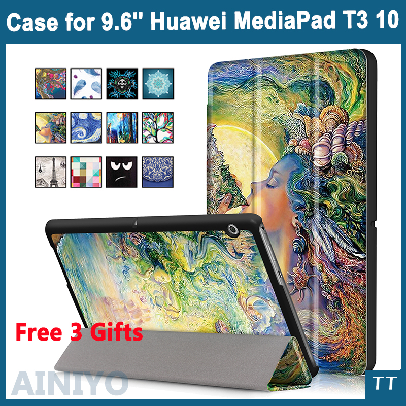 Case For Huawei MediaPad T3 10 AGS-L09 AGS-L03 9.6 inch Cover Tablet for Honor Play Pad 2 9.6 Slim Flip PU Case+Film+Pen folio slim cover case for huawei mediapad t3 7 0 bg2 w09 tablet for honor play pad 2 7 0 protective cover skin free gift