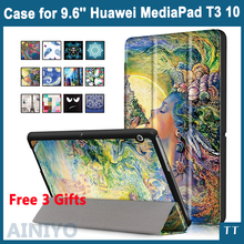 Funda Para Huawei MediaPad T3 10 AGS-L09 AGS-L03 9.6 pulgadas Cubierta tableta para Honor Juego Pad 2 9.6 Tapa Delgada de LA PU Caso + Película + Pluma