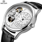 Megir Luxury Brand Mens Watches Waterproof Fitness Quartz Men's Leather Watches Strap Skeleton Clock Army Military Wrist watches