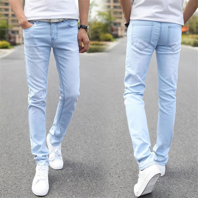 b1b600ee7eaf1 fashion spring and summer men's washed Denim jeans Men's Clothing long  casual pants male light blue trousers 28-36