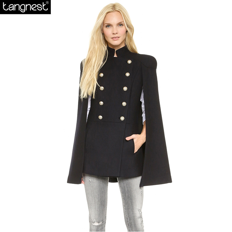 TANGNEST Double Breasted Pea Coat Women 2017 Military Style Trench ...