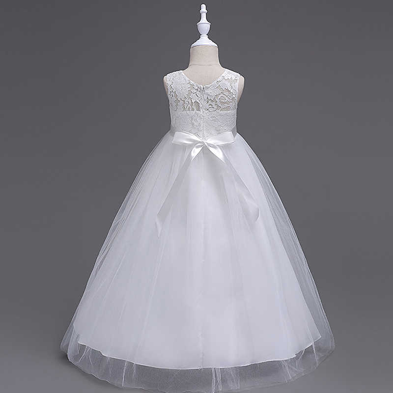 38bfd0c041897 Girls Kids Lace Flower Bridesmaid Party Princess Prom Wedding Dress  Christening Long Princess Costume Junior Children Clothes