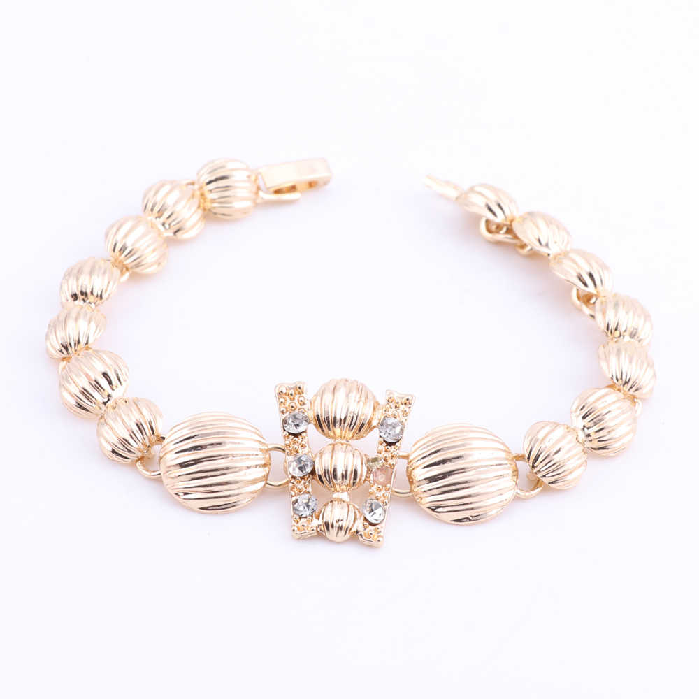 African Dubai Jewelry Sets For Ladies Women Nigerian Beads Necklace Earrings Jewelry Set Wedding Gold/Silver Color Jewellery Set