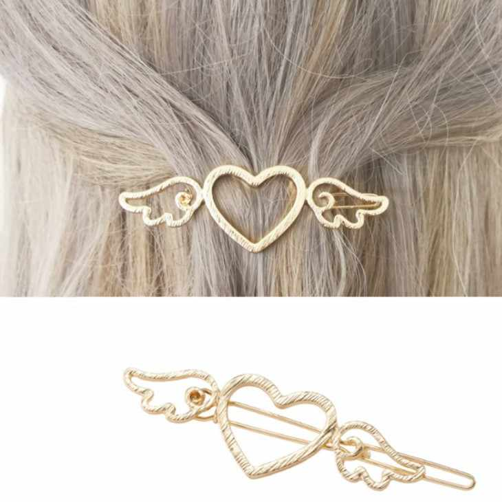 2019 Korean Fashion New Hair Accessories Gold / Silver Love Cupid Wings Ladies Hairpin Manufacturers Wholesale Sales Bride Crown