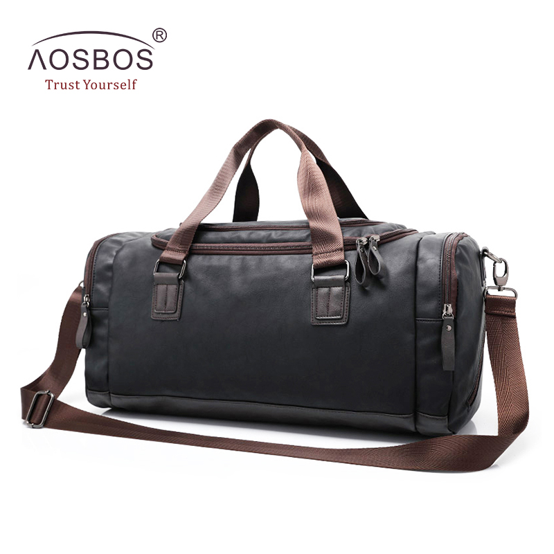 Aosbos New PU Leather Gym Bag Training Sports Bag for Women Men Fitness Bags Outdoor Shoulder
