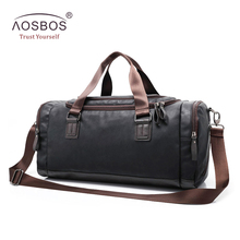 Aosbos New PU Leather Gym Bag Training Sports Bag for Women Men Fitness Bags Outdoor Shoulder Traveling Storage Duffel Handbags