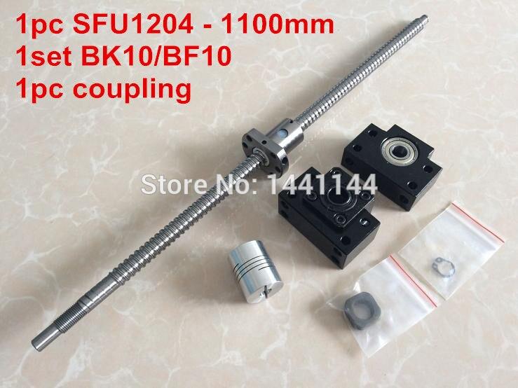 ФОТО 1pcs antibacklash ball screw 1204 - 1100mm-C7+ BK/BF10  Support + 1pcs 6.35*8mm coupler
