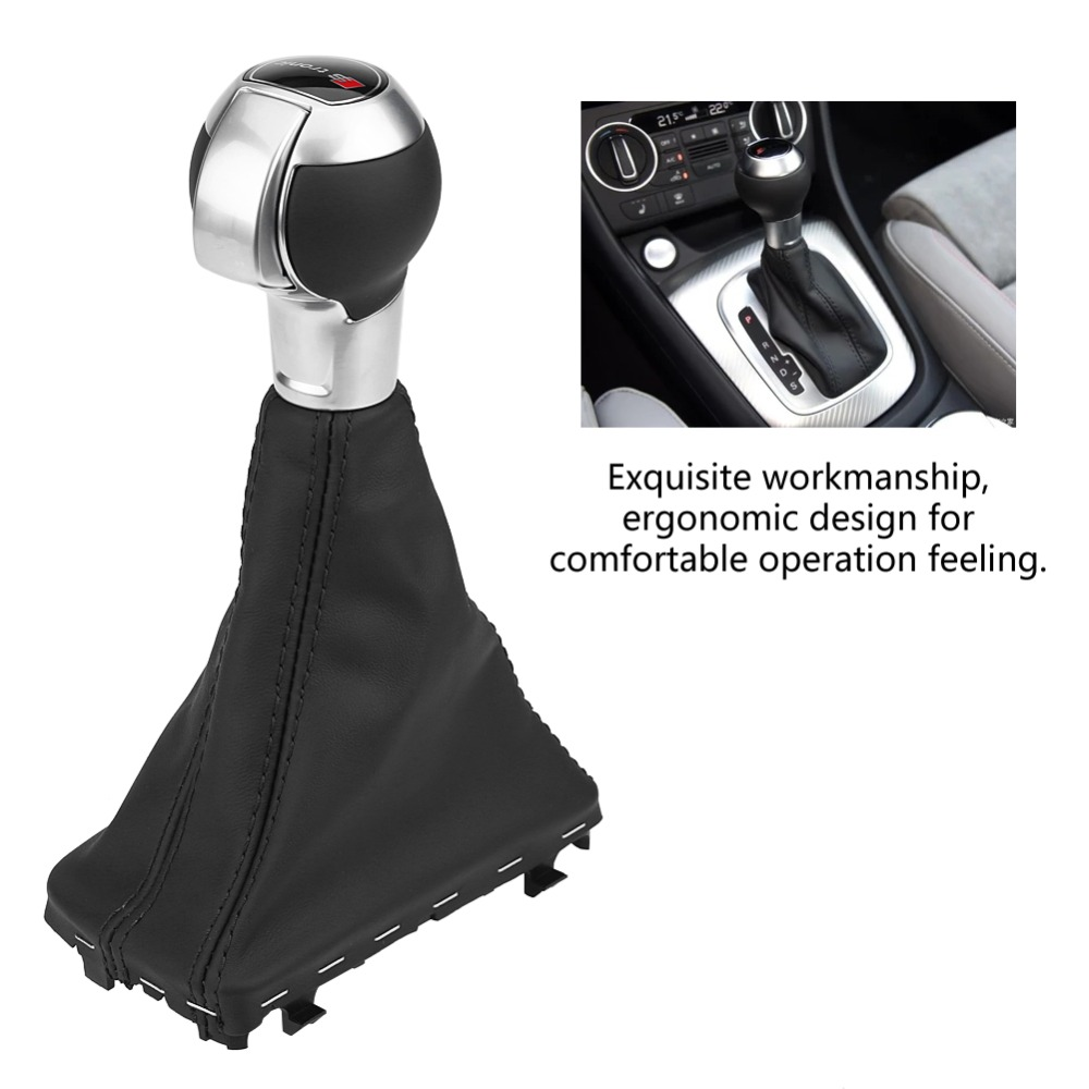 Gear Shift Stick Knob Gaiter Boot Cover Black Leather for Audi A3 S3 RS3 10-12