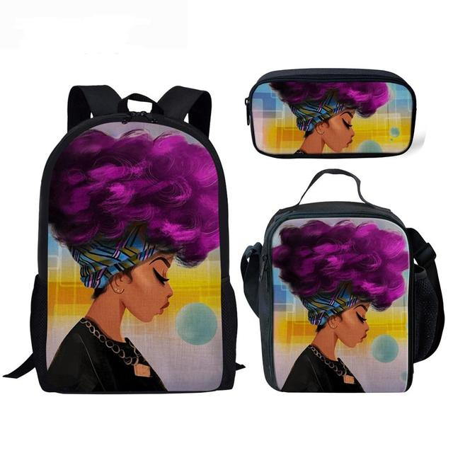 3pcs/set Afro lady with purple hair School Bags for Teenagers
