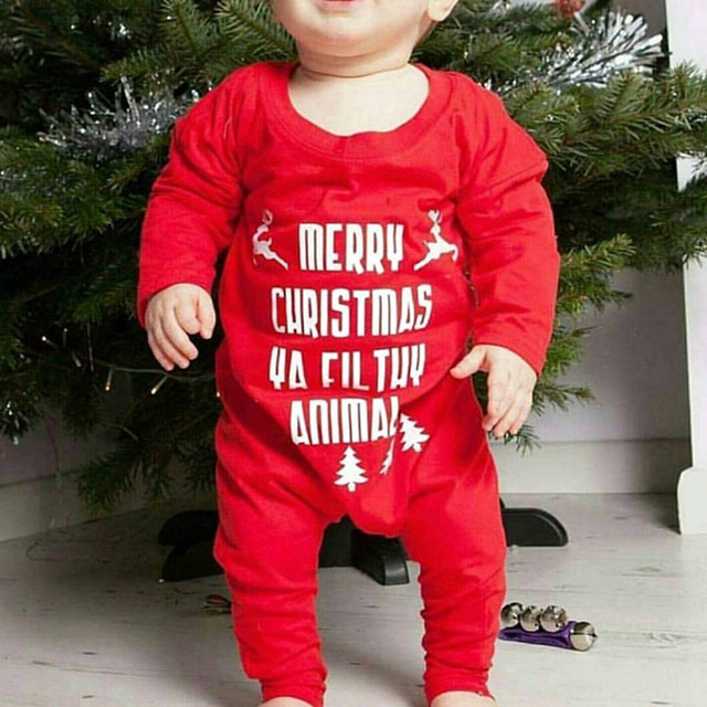 97bfcf94e01e Christmas Romper Baby Onesie Long Sleeve Red Jumpsuits Pajamas Toddler  Infant Girl Boys Clothes Baby Costumes 0-18 M