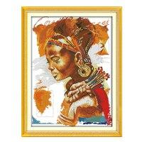 Joysunday gezählt kreuzstich diy die afrikanische frau hut ohr ring halskette dmc14ct11ct baumwollhand wohnzimmer malerei