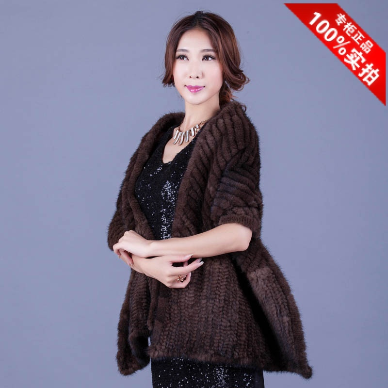 Mink fur shawl chervron outerwear fur scarf knitted muffler scarf Women evening dress autumn and winter thermal