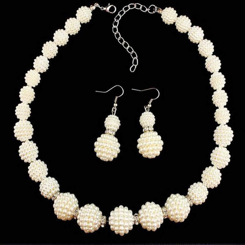 ערכות תכשיטים הודי חתונה אלגנטית פנינה מדומה גדולה אופנה סטי שרשרת הצהרת נשים תכשיטי חרוזים אפריקאים הגדר עבור מתנות