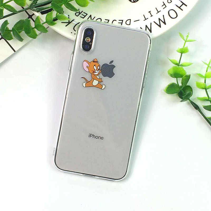 Śmieszne kreskówki telefon etui dla iphone'a x XS 11Pro Max XR słodki kociak Tom pokrywa dla iphone 8 7 6 6S Plus 5S SE miękka silikonowa przezroczysta przypadku