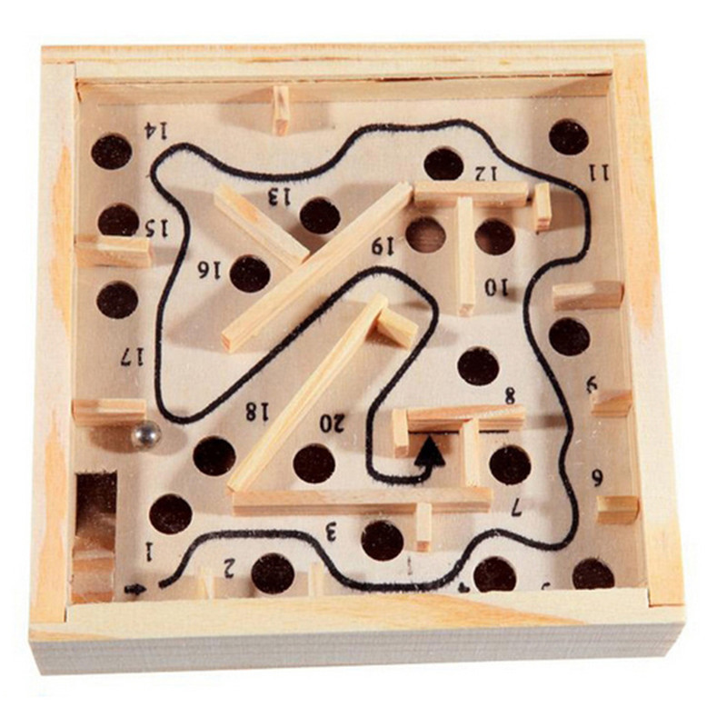 12 2 5cm Mini Wooden Labyrinth Board Game Ball In Maze Puzzle Handcrafted Toys Children