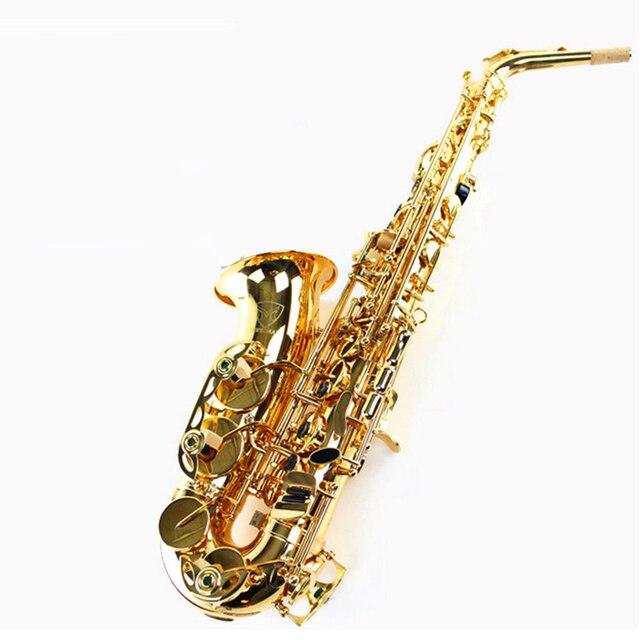 Падение Настройтесь E Саксофон альт Eb Духовых Инструментов Саксофон меди Золотой Лак saxofone Саксен альт Профессиональный Музыкальный Инструмент