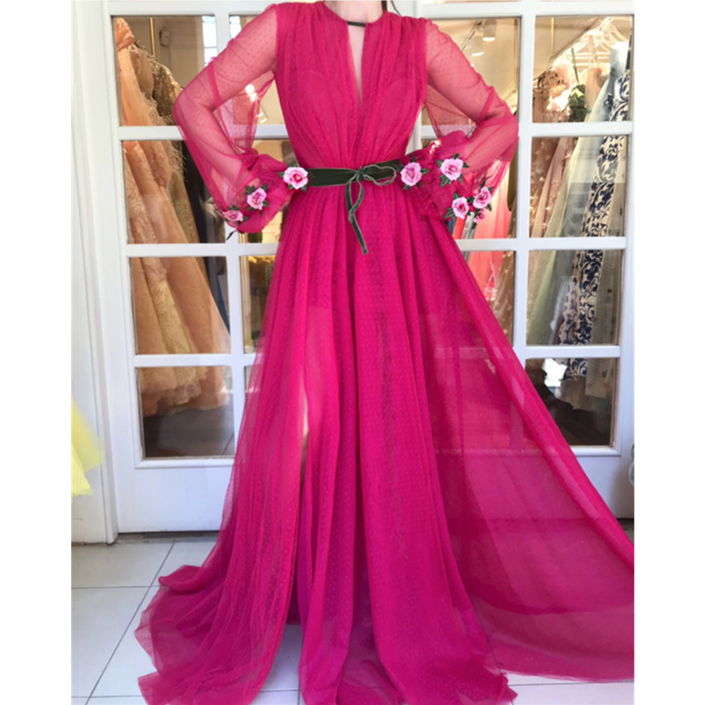 Amazing See Through Tulle   Evening     Dress   Long Sleeve High Split A Line Sexy Summer Prom Gowns 2019 Custom Made Special Party Gown