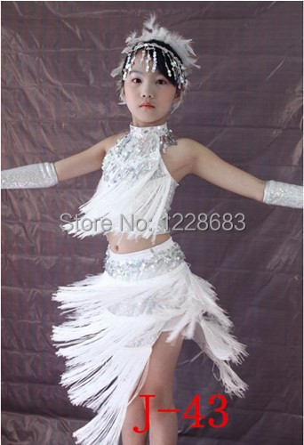 Free Shipping New 2019 Sequin Fringe Dress Latin Dance Costume White Fringe Dress White Salsa Dresses For Girls