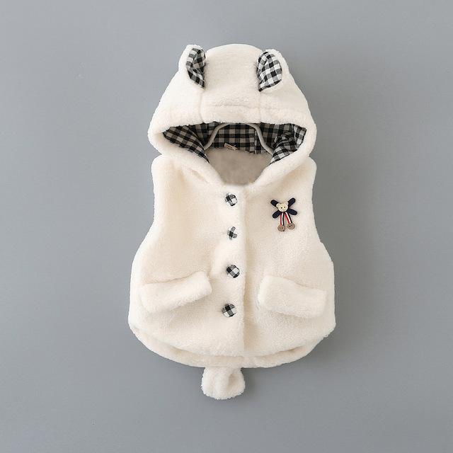 2016 nova primavera outono bebê dia menina casaco Jaqueta Colete de Pelúcia colete todos os match grosso casaco meninas 1-3 T das crianças colete frete grátis