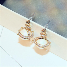 2017 New Cubic Zirconia Simple Luxury Tassel Earrings for Women Fashion gold Plated Simulated Pear Jewelry Wholesale