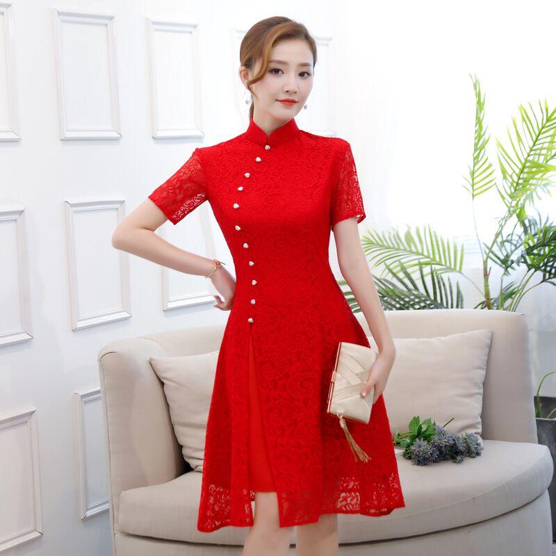 Nuovo Merletto di Arrivo Cheongsam Rosso Vintage Cinese Breve Stile Delle Donne del Ginocchio Leng Qipao Vestito Sottile Vestido Taglia S M L XL XXL XXXL 1995