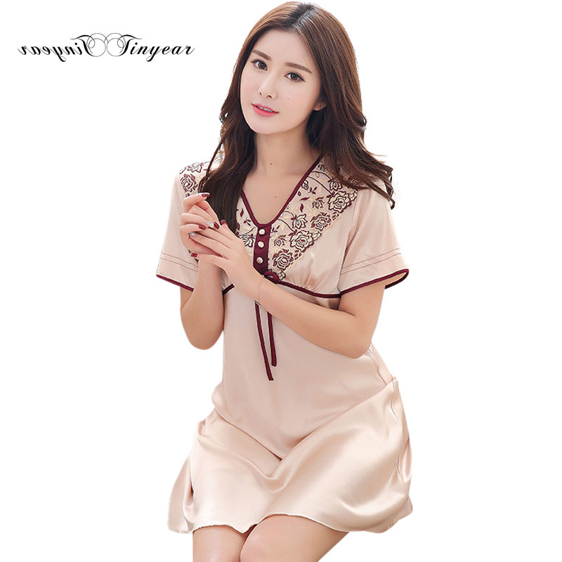 New elegant Floral V-neck Sleepwear robes Short Sleeve Big size Sleep & lounge with bow design