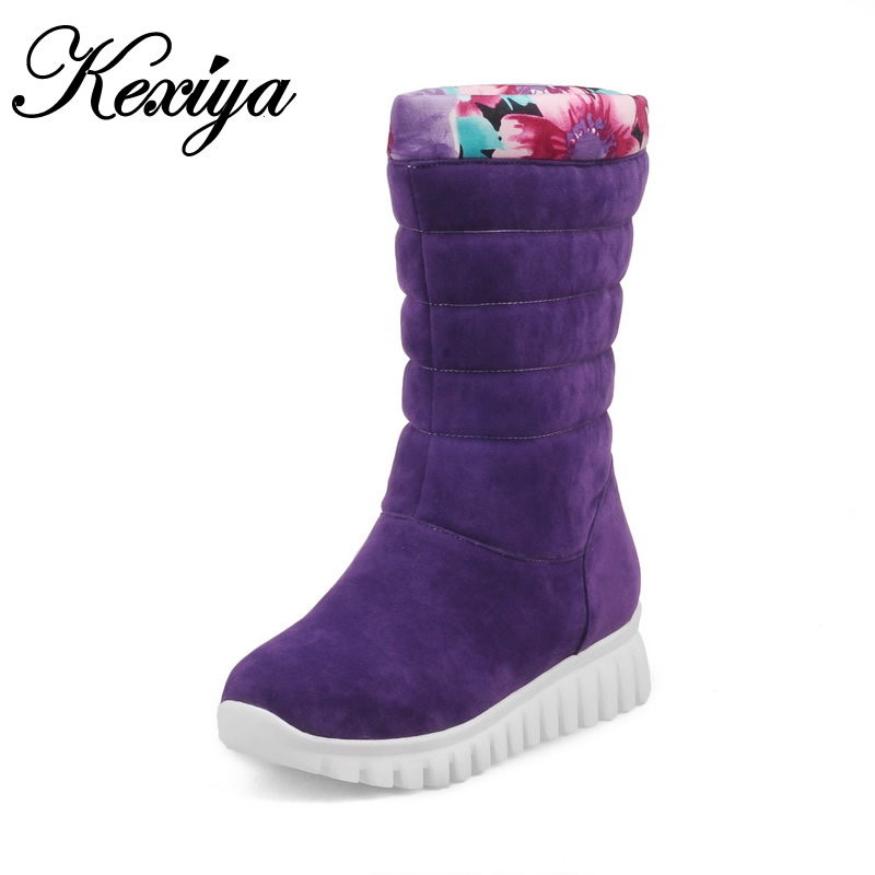 Winter purple snow boots fashion Round Toe Wedges low heel shoes big size 30-46 solid suede Slip-On Mid-Calf boots zapatos mujer 2016 winter women short snow boots fashion suede round toe low heel shoes big size 30 52 ladies slip on mid calf tassel boots