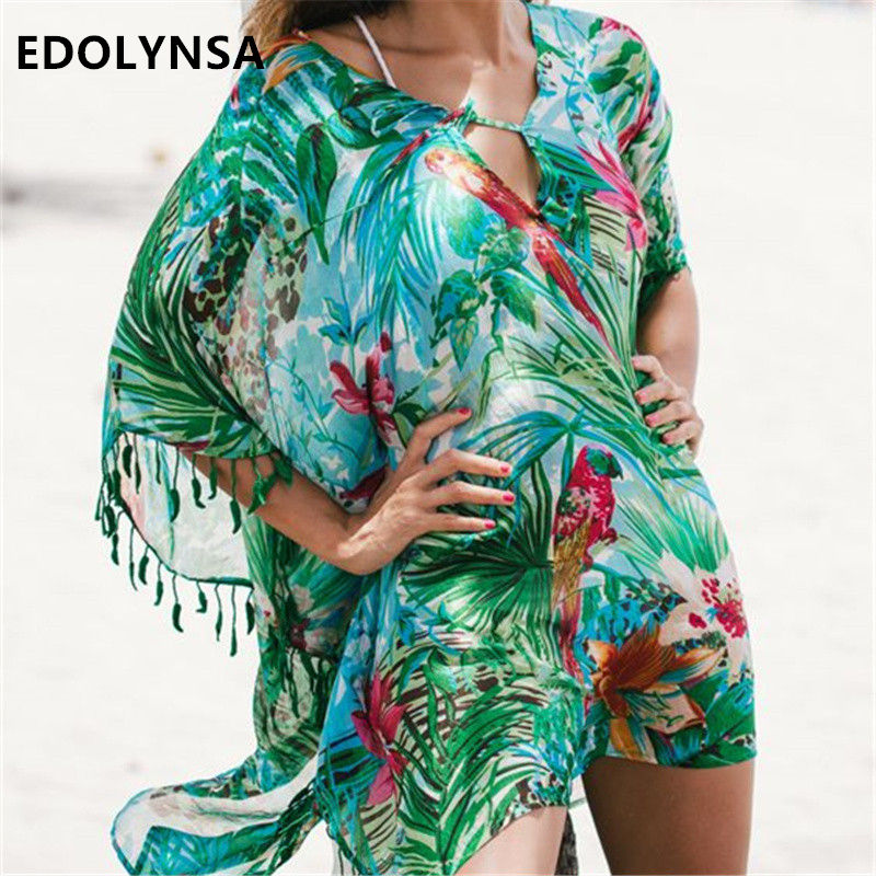 e53abc798a4 Green Bohemian Print Lace Up Leaf fringed Beach Tunic Sexy Half Sleeve Pool  Party Dress Plus Size Chiffon Tunic Beach Dress N523-in Dresses from Women s  ...