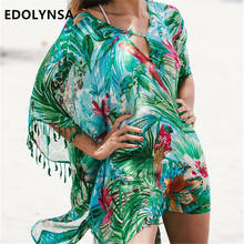 Green Bohemian Print Lace Up Leaf fringed Beach Tunic Sexy Half Sleeve Pool Party Dress Plus Size Chiffon Tunic Beach Dress N523(China)