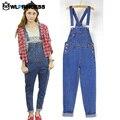 Owlprincess Korean Style Women's Jumpsuit Jeans Coverall Casual Blue Loose Pockets High Waist Bodysuit For Women Denim Jumper