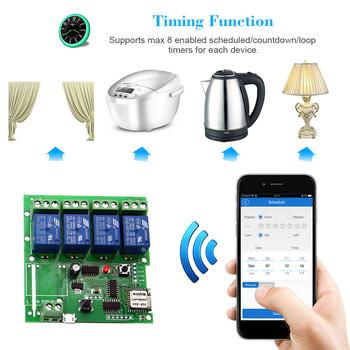 Inteligentny pilot zdalnego sterowania bezprzewodowy uniwersalny moduł 4ch DC 5 V Wifi przełącznik czasowy telefon APP pilota zdalnego sterowania dla inteligentnego domu tanie i dobre opinie Smart Remote Control Wireless Switch Nie Bezpieczny Brak