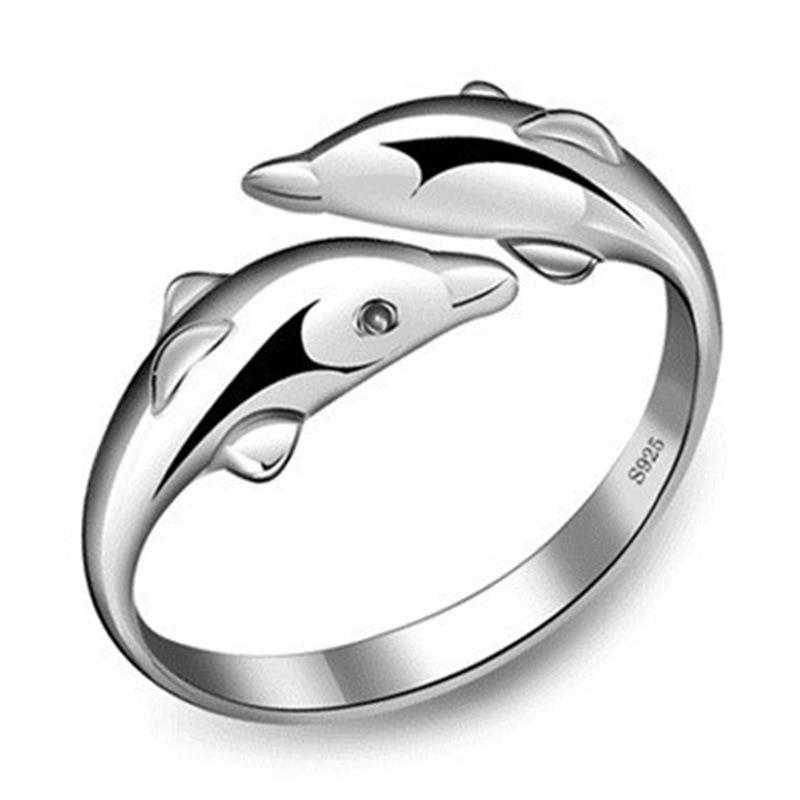 Joyería de plata de ley 925 abierto feliz doble delfín amor Anillos para fiesta mujeres regalo anillo ajustable Anillos Bague VRS2196