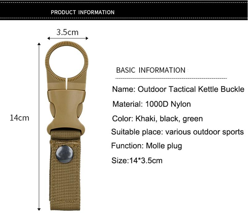 Outdoor military Nylon Webbing Buckle Hook Water Bottle Holder Clip EDC Climb Carabiner Belt Backpack Hanger Camp (1)