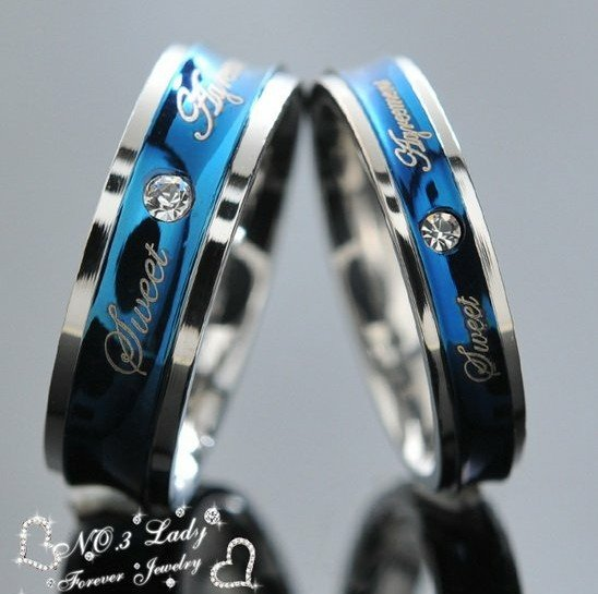 gokadima blue love couple rings wedding engagement korean jewelry his and hers promise ring stainless - Blue Wedding Ring Set