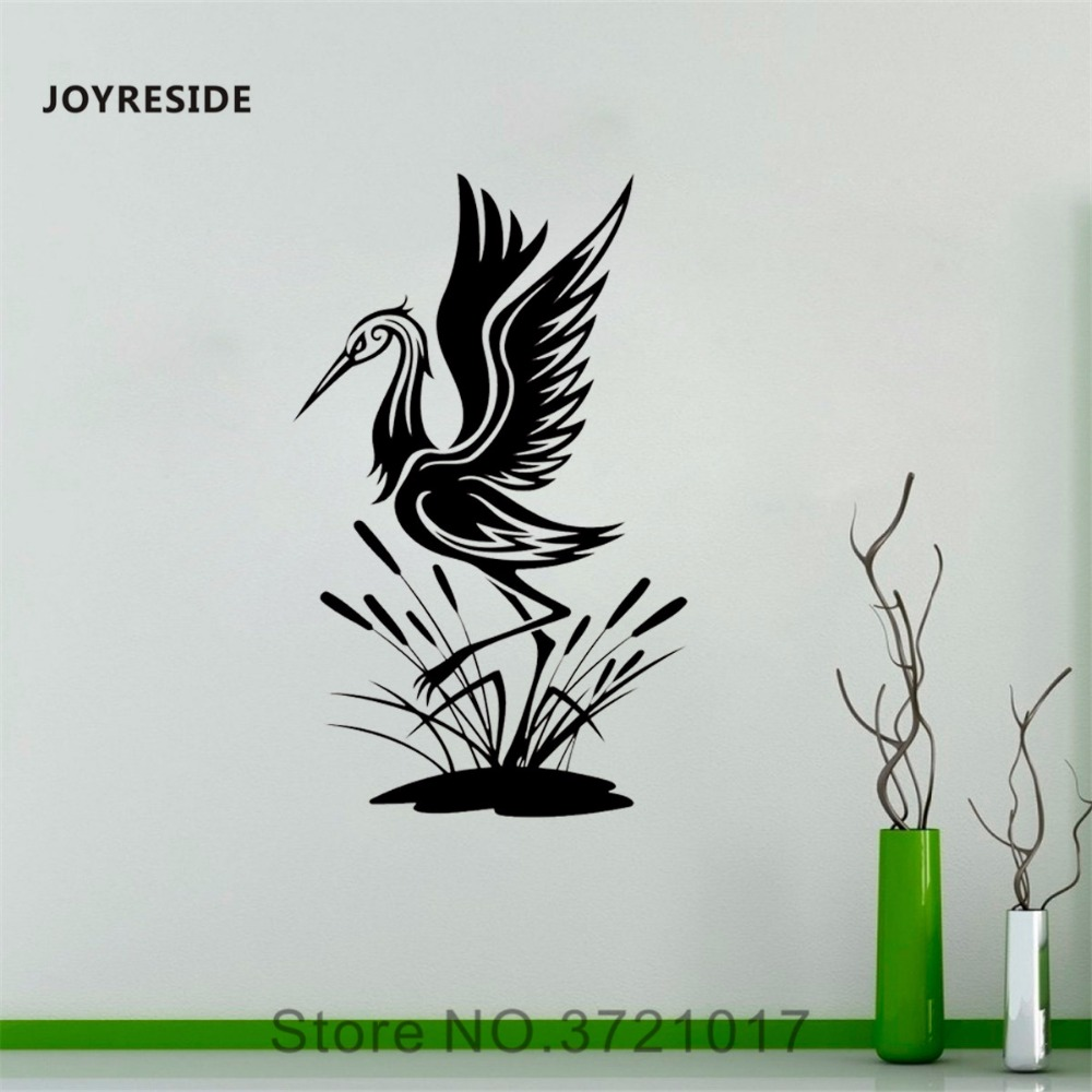 JOYRESIDE Heron Wall Birds Animal Decal Vinyl Sticker Decor Designs Office Home Bedroom Living Room Interior Dorm Murals A270