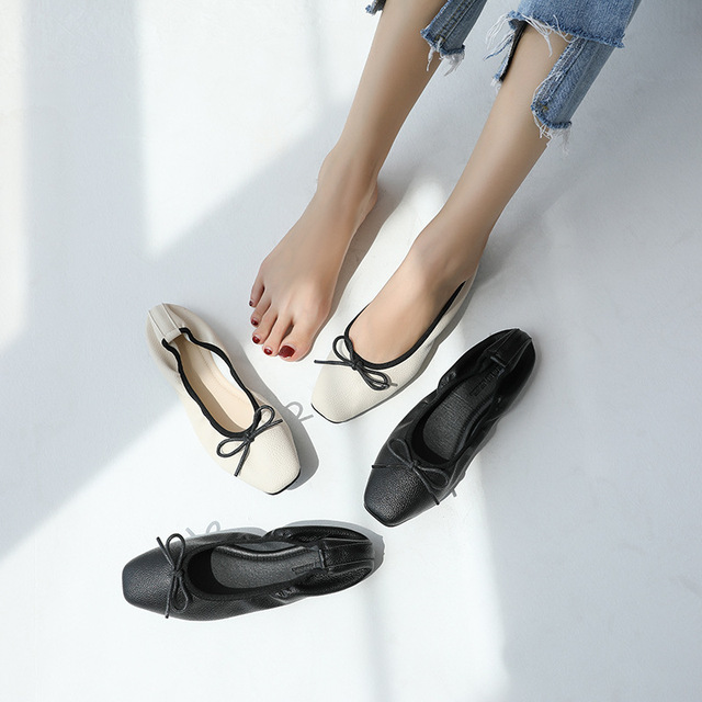 Soft leather foldable shoes women square toe bowtied ballet flats ladies  roll up flat slip on loafers bow-knot espadrilles mujer 9c804ad0cbfc