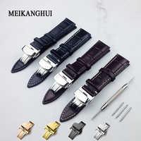 Echtes Leder Armband Mit Schmetterling Schließe Bands Croco Korn Armband für Pulseira Uhr größe in 14 16 18 19 20 21 22 24 mm