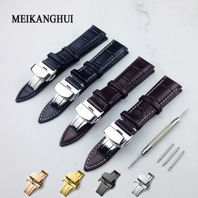 Genuine Leather Watchband With Butterfly Clasp Bands Croco Grain Bracelet for Pu
