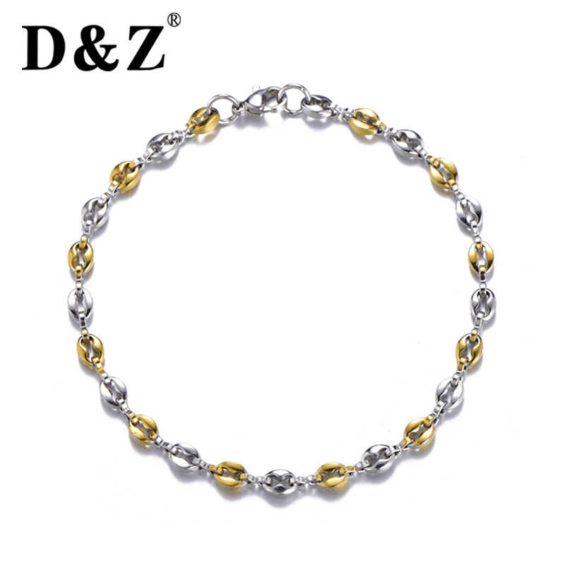 D&Z 4.5mm Wide Fashion Coffee Beans Chain Bracelet Gold/Silver 316L Stainless Steel Pulseras For Men Women Jewelry