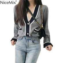 NiceMix 2019 Autumn Casual Cardigan Women Sweater Knitted Coats Female Cardigans Mujer Woman Clothes Roupas Femininas