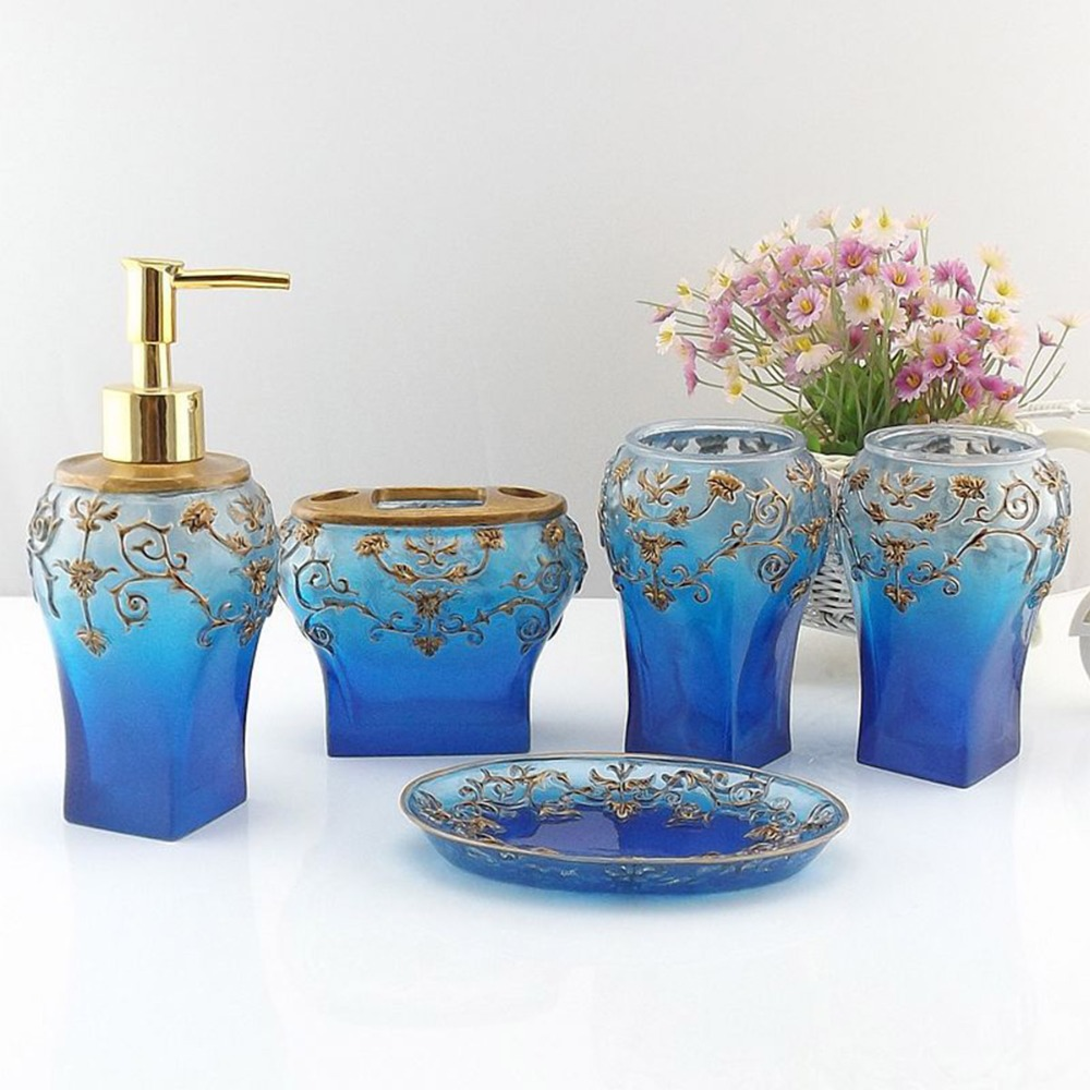 blue bathroom accessories
